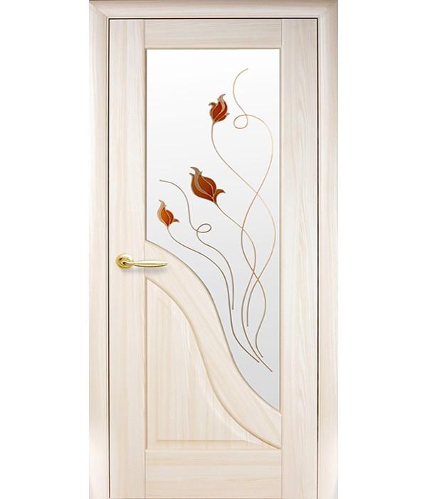 Дверь - Межкомнатные двери Амата стекло + ФП ясень